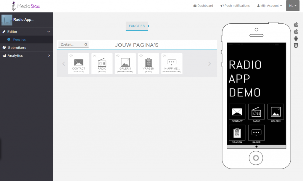 Radio app CMS beheer tool